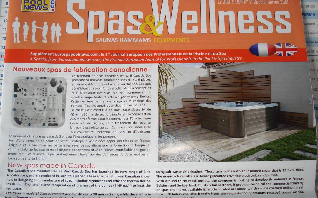 Quand BE WELL fait la une d'un magazine piscine/spa !!!!