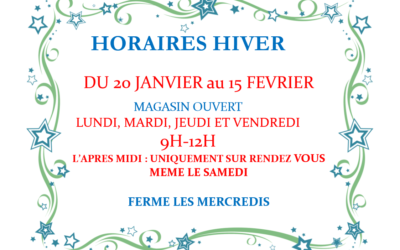 ATTENTION HORAIRES D'HIVER 2020