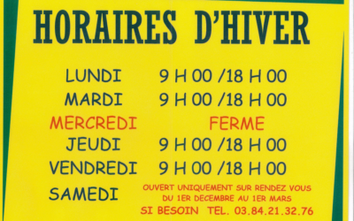 HORAIRES 2020