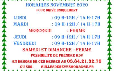 HORAIRES NOVEMBRE 2020